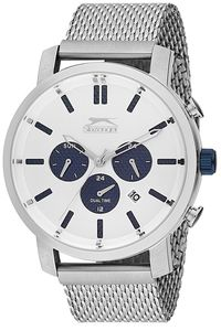 Men's Stainless Steel Band Watch - SL. 9.6075, white, silver, silver