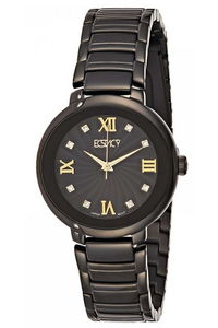 Ecstacy Women's Stainless Steel Band Watch E8503-BBBBG, black, black, black