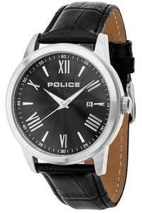 Men's Leather Band Watch - P 14723, silver, black, black