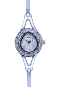 Women's Stainless Steel Band Watch-S7513, silver, silver, silver