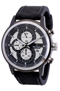 Men's Genuine Leather Band Watch- T5121, black, white, grey
