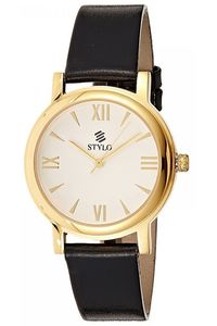 Stylo Women's Leather Band Watch - S7539-GLBS, silver, ip gold, black