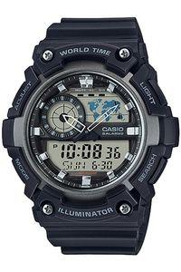 Men's Resin Band Watch - AEQ-200, black, black/grey, black