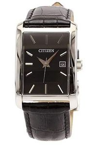 Men's Leather Band Watch - BH1677, black, silver, black