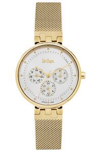 Women 's Super Metal Band Watch - LC06390, white, gold, gold