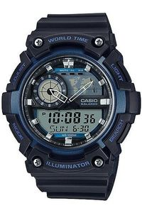 Men's Resin Band Watch - AEQ-200, black/blue, black, black