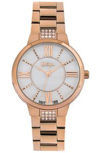 Women's Super Metal Band Watch -LC06477, gold, gold, mop white