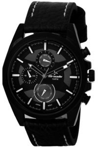 Men's Leather Band Watch- T5133, black, black, black