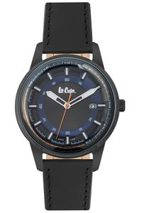 Men's Leather Band Watch -LC06677, blue, black, black