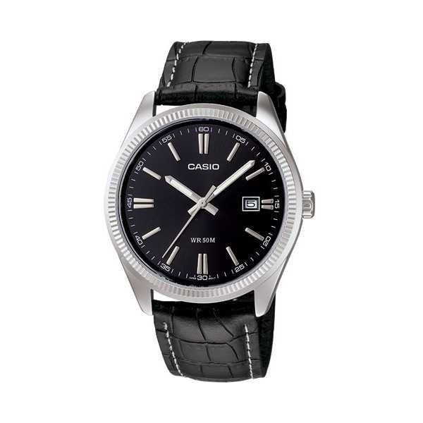 Men s Leather Band Watch - MTP-1302L