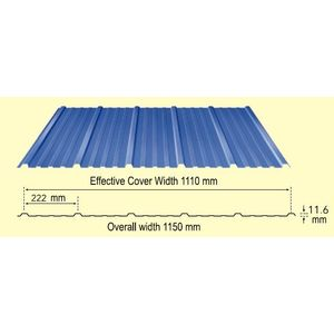 TATA DURASHINE WALL STEEL SHEETS: - NUVO BLUE - THICKNESS 0.45MM x WIDTH 1155MM (3.83FEET), 10feet 3050mm