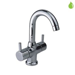 JAQUAR FLORENTINE SERIES QUARTER TURN - FLR-5169NB CENTRAL HOLE BASIN MIXER WITH POPUP WASTE SYSTEM WITH 450MM LONG BRAIDED HOSES