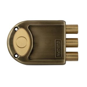 EUROPA DIMPLEKEY MAIN DOOR LOCKS (3 BOLTS) : COMMON REVERSIBLE LATCHBOLT FOR KNOB ON INSIDE SP (WITH 2 DEAD BOLTS AND 1 LATCHBOLT), outside opening doors, silver nickel