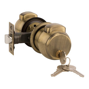 EUROPA FEATHER TOUCH PRESS BUTTON CYLINDRICAL LOCK: BOTH SIDE KEY MODEL (AS PER DOOR THICKNESS), antique brass