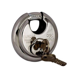 EUROPA DISC PADLOCK: BLISTER, 9.5 MM HARD SHACKLE, DUST COVER, stainless steel
