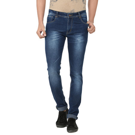 Stylox Dark Blue Shaded Cotton Blended Jeans For Men, 36