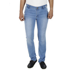 Stylox Mens Light Blue Shaded Slim Fit Jeans, 36