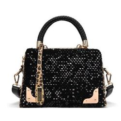 Leopard patter case shape tote handbag, Black