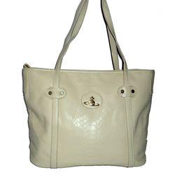 Crocodile leather fashion handbag, Light Yellow