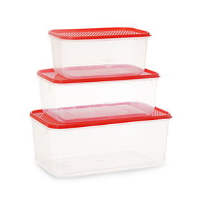 Polka Container Set of 3, 9300 ml,  red
