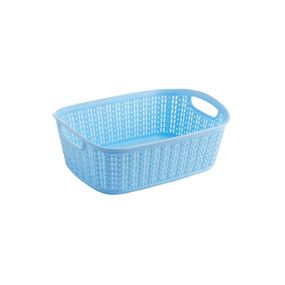 Cresta Knit Rectangular Basket, 3 ltr,  blue