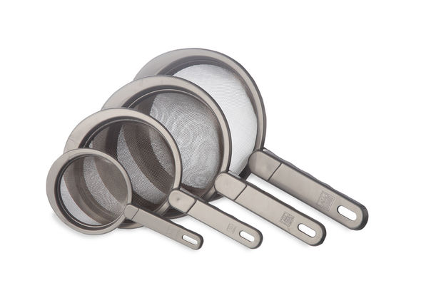 Strainer With Stainless Steel Mesh Set Of 4,  natural