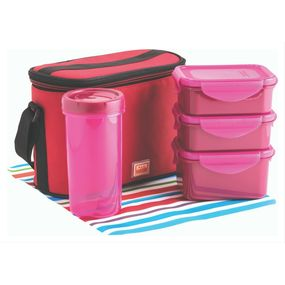 Food Gear Lunch Box With Glass & Insulated Carry Bag 4-Pieces Set, 350 ml - 350 ml - 470 ml - 500 ml,  pink