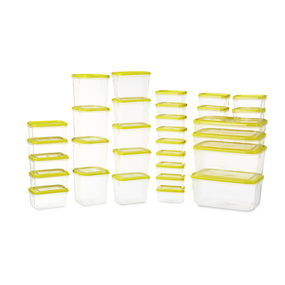Polka Plastic Container Set, 31-Pieces, Green,  yellow