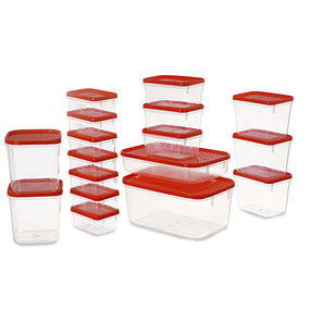Polka Container Set, 6.5 Litre, Set Of 17,  red
