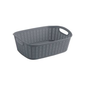 Cresta Knit Rectangular Basket, 3 ltr,  grey
