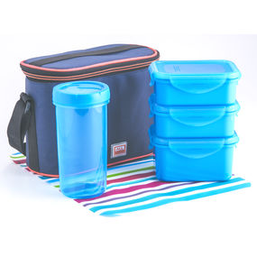 Food Gear Lunch Box With Glass & Insulated Carry Bag 4-Pieces Set, 350 ml - 350 ml - 470 ml - 500 ml,  blue