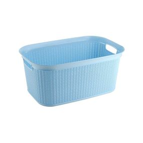 Cresta Knit Rectangular Basket, 27 ltr,  blue