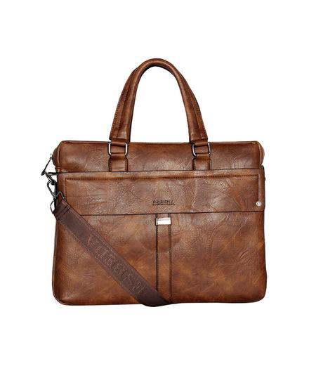 ESBEDA Solid pattern Grain Laptop Bag for Mens and women,  tan