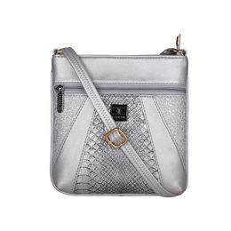ESBEDA Medium Size Damask Slingbag For Womens-A00100042-42,  silver