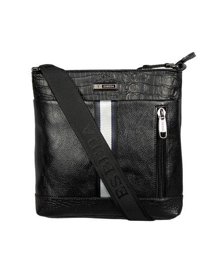 ESBEDA Mediums Size Croco Stripe Slingbag For Mens And Women.,  black
