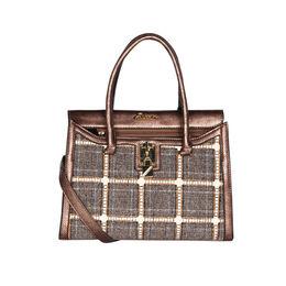 ESBEDA Checkred Pattern Bernina Jute Suede Handbag For Women,  brown