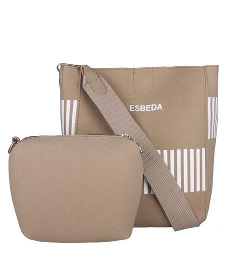 ESBEDA Solid Pattern Pastel Handbag with Pouch -1005021,  camel