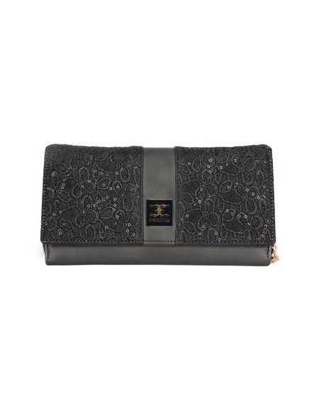 ESBEDA Solid Pattern Zardosi Wallet For Women,  grey