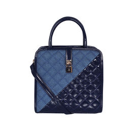 ESBEDA Solid Pattern Quilted Shiny Handbag For Women,  dark blue