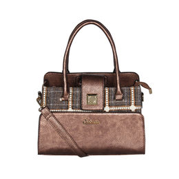 ESBEDA Emboss Pattern Bernina Jute Suede Handbag For Women,  brown