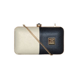 ESBEDA Solid Pattern Glammer box clutch For Women,  navy blue