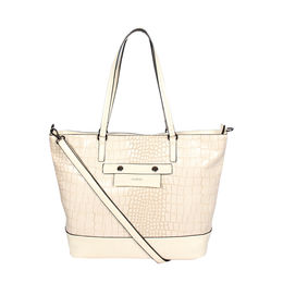 ESBEDA Zip Closure Solid Parallel Handbag For Womens,  off-white