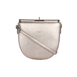 Esbeda Black Color Small Size Solid U-Shaped Saddle Sling Bag For Women,  silver