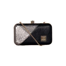 ESBEDA Solid Pattern Glammer box clutch For Women,  black