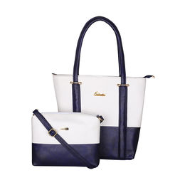 ESBEDA BIG Size Vinyl Combo Handbag with Slingbag For Women-B00100001-2,  navy blue
