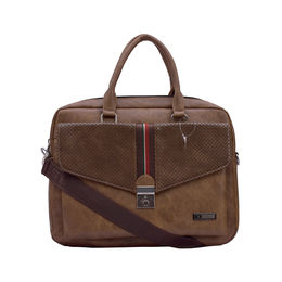 ESBEDA Solid Pattern Clipart Flap Laptop Bag 001005294,  brown