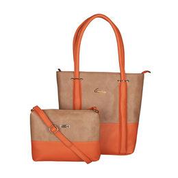 ESBEDA BIG Size Vinyl Combo Handbag with Slingbag For Women-B00100001-2,  beige
