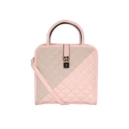 ESBEDA Solid Pattern Quilted Shiny Handbag For Women,  pink