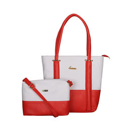 ESBEDA BIG Size Vinyl Combo Handbag with Slingbag For Women-B00100001-2,  red