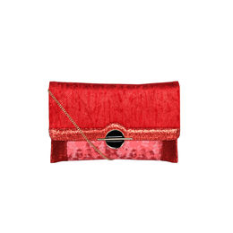 ESBEDA Printed Pattern Lurex Partywear Clutch For Women,  red
